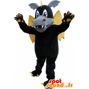 μαύρο φτερωτό δράκο μασκότ με τα αυτιά και τα νύχια - MASFR032607 - Δράκος μασκότ