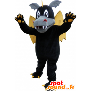 Black winged dragon mascot with ears and claws - MASFR032607 - Dragon mascot