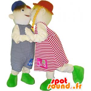 2 mascottes d'enfants, une fillette et garçon - MASFR032608 - Mascottes Enfant