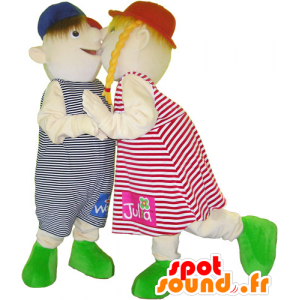 2 mascotas para los niños, una niña y niño - MASFR032608 - Niño de mascotas