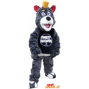 Gray and white bear mascot with a yellow crest - MASFR032609 - Bear mascot