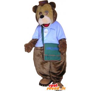 Mascot brown bear with a shoulder bag - MASFR032610 - Bear mascot