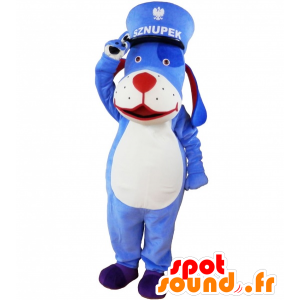Niebieski i biały pies maskotka z czapki. niebieska maskotka zwierząt - MASFR032618 - dog Maskotki