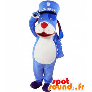 Sininen ja valkoinen koira maskotti korkilla. sininen eläin maskotti - MASFR032618 - koira Maskotteja