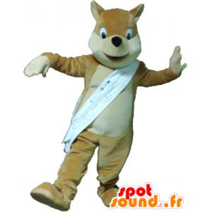 Mascotte de renard marron clair, beige et blanc - MASFR032619 - Mascottes Renard