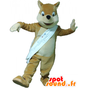 Mascotte marrone chiaro volpe, beige e bianco - MASFR032619 - Mascotte Fox