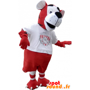 Mascotte de tigre en tenue de footballeur rouge et blanc - MASFR032620 - Mascottes Tigre