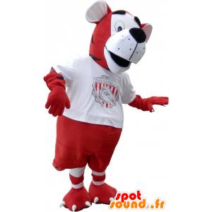 Tiger maskot kledd i rødt og hvitt fotball - MASFR032620 - Tiger Maskoter