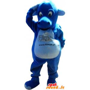 Blauwe draak mascotte, gigantische en indrukwekkende - MASFR032621 - Dragon Mascot