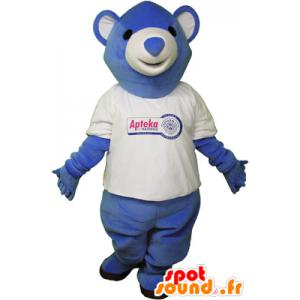 Blue teddy mascot with a t-shirt - MASFR032623 - Bear mascot