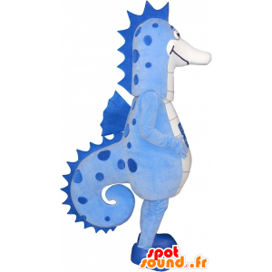 Mascot blue and white sea horse, giant