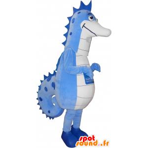 Mascot blue and white sea horse, giant - MASFR032626 - Mascots hippopotamus