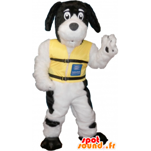 White dog mascot with black spots - MASFR032632 - Dog mascots