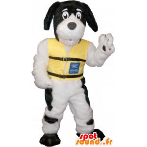 Bílý pes maskot s černými skvrnami - MASFR032632 - psí Maskoti