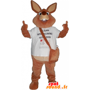 Giant brown rabbit mascot with a bag - MASFR032633 - Rabbit mascot
