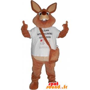 Giant μασκότ καφέ κουνέλι με μια τσάντα - MASFR032633 - μασκότ κουνελιών