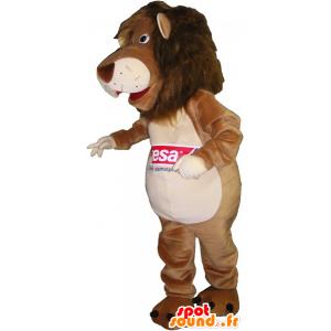 καφέ και μπεζ μασκότ λιοντάρι - MASFR032634 - Λιοντάρι μασκότ