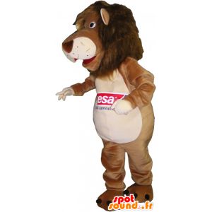 Bruin en beige leeuw mascotte - MASFR032634 - Lion Mascottes