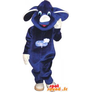 Mascotte heel schattig paars en wit blauwe olifant - MASFR032636 - Elephant Mascot