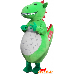 Gigante e impressionante mascotte drago verde - MASFR032638 - Mascotte drago