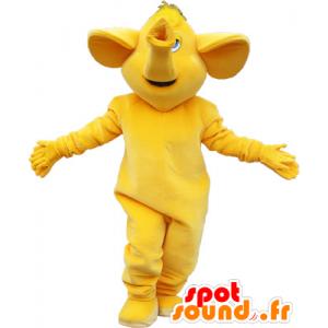 Kaikki keltainen jättiläinen norsu maskotti - MASFR032639 - Elephant Mascot