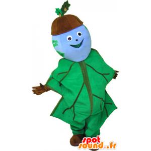 Acorn Mascot gevoerd met eikenblad - MASFR032642 - mascottes planten