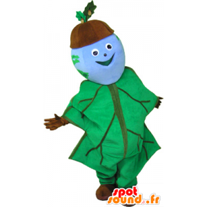 Acorn Mascot holdt med eik blad - MASFR032642 - Maskoter planter