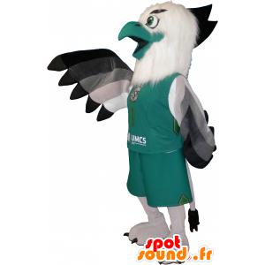 Mascot pájaro blanco y verde en ropa deportiva - MASFR032643 - Mascota de deportes
