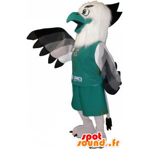 Mascotte d'oiseau blanc et vert en tenue de sport - MASFR032643 - Mascotte sportives
