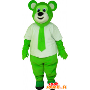 Mascot hairy and green colored bear with a tie - MASFR032650 - Bear mascot