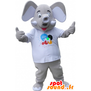 Mascot elepant gray with large ears - MASFR032651 - The jungle animals