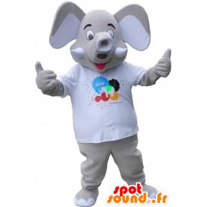 Mascotte d'élépant gris avec de grande oreilles - MASFR032651 - Animaux de la jungle