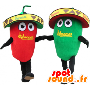 2 μασκότ γίγαντας κόκκινες και πράσινες πιπεριές. μασκότ Ζευγάρι - MASFR032655 - φυτικά μασκότ