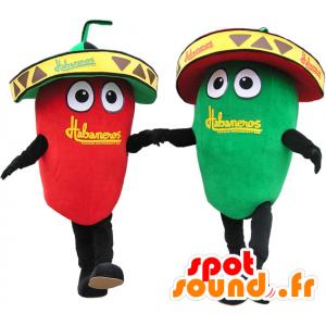 2 mascottes reus groene en rode paprika. Mascot Couple - MASFR032655 - Vegetable Mascot
