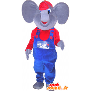 Of elephant mascot dressed in blue and red - MASFR032669 - Elephant mascots