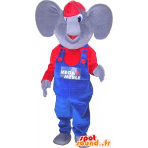 Słonia maskotka ubrana w niebieski i czerwony - MASFR032669 - Maskotka słoń