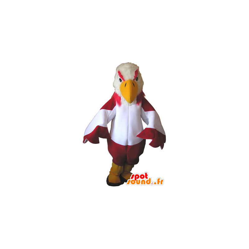 Mascot red and white vulture with yellow boots - MASFR032677 - Mascot of birds