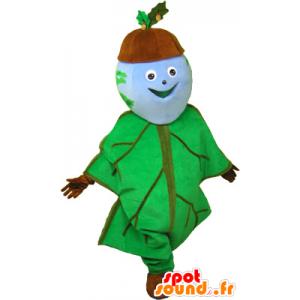 Eikel mascotte gekleed in eikenblad - MASFR032683 - mascottes planten