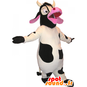 White Cow mascot, black and pink - MASFR032688 - Mascot cow