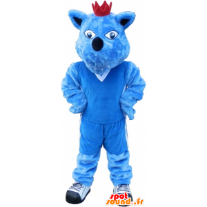 Blå hundmaskot med en krona. Blå djurmaskot - Spotsound maskot