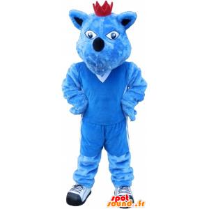 Niebieski pies maskotka z koroną. niebieska maskotka zwierząt - MASFR032691 - dog Maskotki