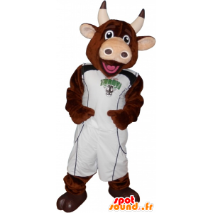 Brown cow mascot with holding basketball - MASFR032692 - Mascot cow