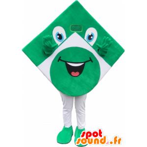 Grüne und weiße Quadrat-Maskottchen, die Spaß Luft - MASFR032696 - Maskottchen von Objekten