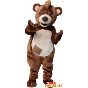 Mascot big brown bear and beige teddy - MASFR032697 - Bear mascot