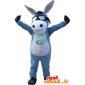 Mascotte grigio e asino bianco con un sorriso. mascotte mulo - MASFR032705 - Animali da fattoria