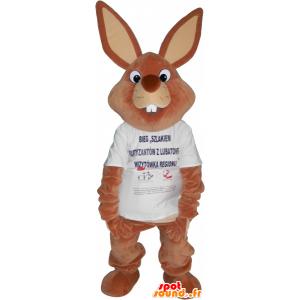 Mascotte de lapin marron géant en t-shirt - MASFR032707 - Mascotte de lapins