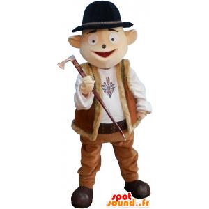 Schneemann-Maskottchen-Berg Kleidung mit Bowler - MASFR032708 - Menschliche Maskottchen