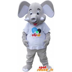 Mascotte de gros élépant gris - MASFR032711 - Animaux de la jungle
