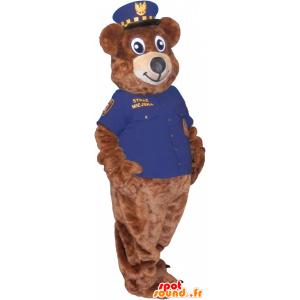 Mascote do urso marrom com uniformes da polícia - MASFR032715 - mascote do urso