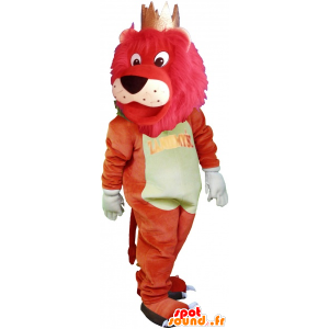 Mascot grande leone colorato con una corona - MASFR032716 - Mascotte Leone